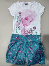 Conjunto infantil com shorts floral balonê frozen Disney - Nacional