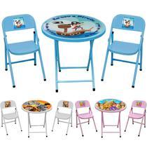 Conjunto Infantil Escolar Mesa com 2 Cadeiras Dobrável - Aço mix