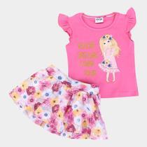 Conjunto Infantil Fakini Glitter Floral Feminino -