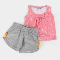 Conjunto Infantil Fakini Pom Pom Feminino -