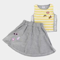 Conjunto Infantil Fakini Short Saia Feminino -