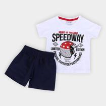 Conjunto Infantil Fakini Speedway Bermuda Moletinho Masculino -