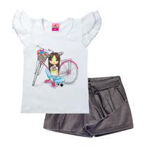 Conjunto Infantil Feminino Bicicleta Branco - Tileesul -