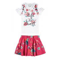 Conjunto Infantil Feminino Branco Life is Sweet Malwee -