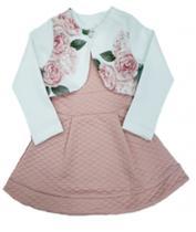 Conjunto Infantil Feminino de Vestido com Bolero -Estampado: Floral e Brilho-Carol & DaniTamanho 4. -