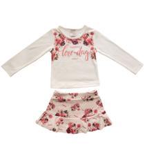 Conjunto Infantil Feminino Saia Floral com Babado e Blusa - Estampa: FloralCarol & Dani  Tamanho3. -