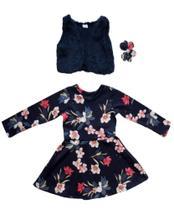 Conjunto Infantil Feminino Vestido com Colete de  Pelo  Carol & Dani  Tamanho 3. -