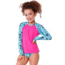 Conjunto Infantil Girl Pwr de Blusa de Proteção e Calcinha - Cecí Moda Praia