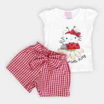 Conjunto Infantil Hello Kitty Blusa Cotton e Short Tecido -