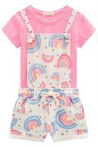 Conjunto Infantil Jardineira e T-Shirt Kukiê Feminino Rosa - Tam 03 - Le Petit Kukiê