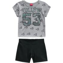 Conjunto Infantil Juvenil Meninas Cropped e shorts Amora -