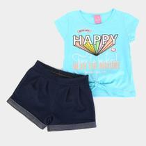 Conjunto Infantil Kamylus Meia Malha Short Cotton Jeans -