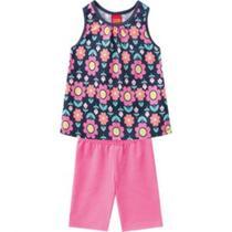 Conjunto Infantil Kyly Feminino Blusa Trapézio Preta com Estampa Floral e Ciclista Rosa  - Tam. 4 -