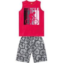 Conjunto Infantil Kyly Masculino Regata Vermelha com Estampa Bicicleta e Bermuda Estampada Tam. 12 -
