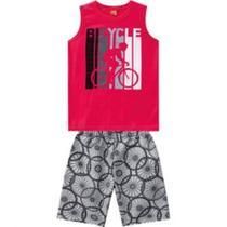 Conjunto Infantil Kyly Masculino Regata Vermelha com Estampa Bicicleta e Bermuda Estampada Tam. 14 -