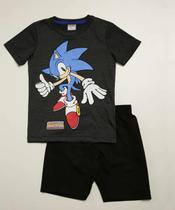Conjunto Infantil Manga Curta Estampa Sonic Tam 4 A 10 -