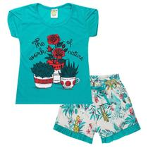Conjunto Infantil Menina Estampa Flores Nature Verde Fantoni -