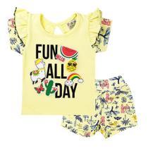 Conjunto Infantil Menina Fun All Day Amarelo - Fantoni -