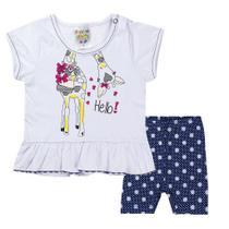Conjunto Infantil Menina Hello Girafa Branco Com Marinho - Fantoni -