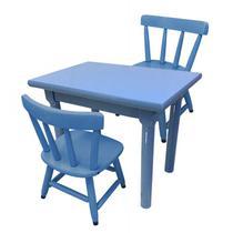 Conjunto Infantil Mesa Com 2 Cadeiras Azul Para Criança - Flex mesas e cadeiras