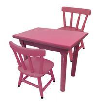 Conjunto Infantil Mesa Com 2 Cadeiras Rosa Para Criança - Flex mesas e cadeiras