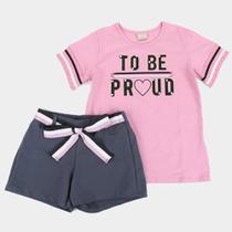 Conjunto Infantil Milon Blusa Com Shorts Molicotton To Be Feminino -