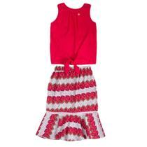 Conjunto Infantil Precoce Feminino Blusa de Viscose Pink e Saia Midi Estampa Pitaya  Tam 12 -