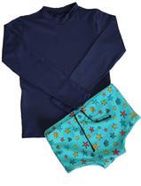 Conjunto infantil proteção UV menino azul marinho - camiseta e sunga - Gérbya -