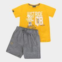 Conjunto Infantil Quimby Camiseta Malha Bermuda Moletom -