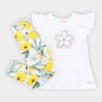 Conjunto Infantil Quimby Flores Feminino -