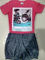 Conjunto infantil shorts imita jeans blusa manga curta rosa - Nacional