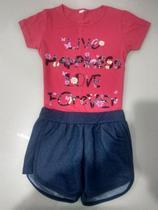 Conjunto infantil shorts imita jeans estampa Happiness - Nacional
