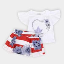 Conjunto Infantil Up Baby Blusa Cotton E Saia Meia Malha Floral -