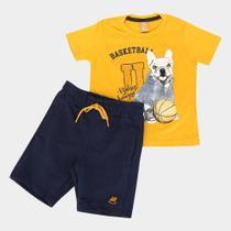 Conjunto Infantil Up Baby Camiseta Malha E Bermuda Moletom Basketball Champion -