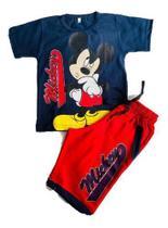 Conjunto Infantil Verão Menino Short +camiseta Mickey Disney - Anjo Da Mamãe