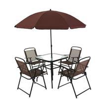 Conjunto Jardim Miami C/ 4 Cadeiras, Mesa, Guarda-sol Belfix -