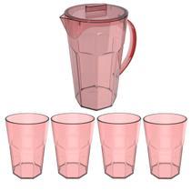 Conjunto Jarra 1,8 Litros e 4 Copos 400ml Para Servir Suco Rosa Quartzo - Ou