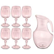Conjunto Jarra 2,1L E 6 Taças 350ml Plástico Jogo De Refresco Valsa Rosa Translúcido UZ - UZ Utilidades
