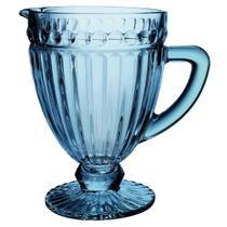 Conjunto jarra + 6 taças água + 6 taças sobremesa vidro Empire Azul - Lyor
