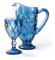 Conjunto Jarra De Vidro Diamond Azul 1200ml E 6 Taças 300ml - Vestcasa