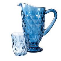 Conjunto Jarra Diamond De Vidro Azul 1200ml E 6 Copos 240ml - Vestcasa