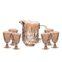 Conjunto Jarra e 6 Taças de Cristal Prima Lyor 7740 âmbar - Coliseu