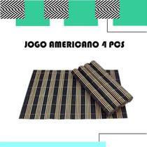 Conjunto Jogo Americano c/ 4 Peças Toalha Cozinha Esteira Bambu - Mimo