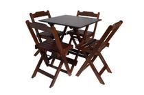 Conjunto Jogo de Mesa 70x70 Com 4 Cadeiras Dobráveis - Imbuia - Reisol Móveis - Rei Sol Móveis