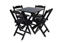 Conjunto Jogo de Mesa 70x70 Com 4 Cadeiras Dobráveis - Preta - Reisol Móveis - Rei Sol Móveis