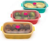 Conjunto Jogo De Potes 3 Unidades Com Tampa Rosa Verde Amarelo Pode Ir No Freezer Micro-ondas Lava-louças Resistente  Sanremo Coleção Vac -