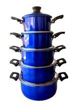 Conjunto Jogo Panelas Coelho Caçarolas Grossa 5 Pçs Alumínio Azul - Alumínios Coelho