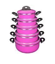 Conjunto Jogo Panelas Laredu Caçarolas 5 Pçs Alumínio Rosa -