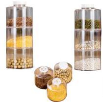 Conjunto Jogo Porta Condimentos Temperos Organizador Empilhável Torre Acrílico 6 Potes -