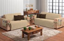 Conjunto jogo protetor de sofá 2 e 3 lugares caqui com 4 capas de almofada marrom escuro - Brucebaby Bordados